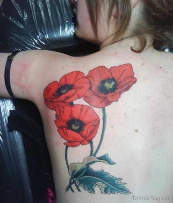 Red Poppy Flower Tattoo On Back