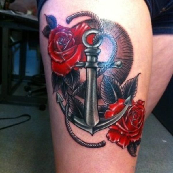 Red Rose And Anchor Tattoo
