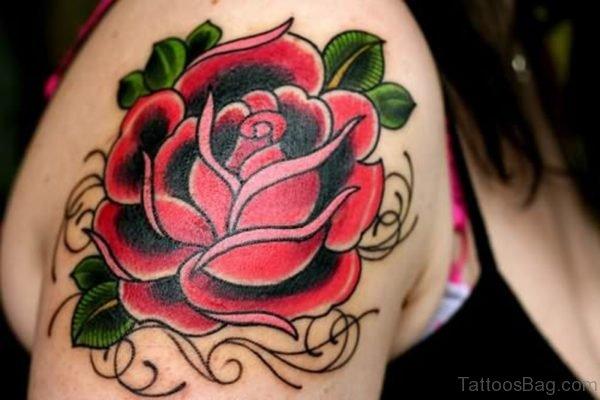 Red Rose Flower Tattoo Design