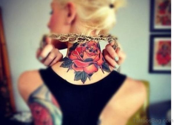 Red Rose Tattoo On Neck Back