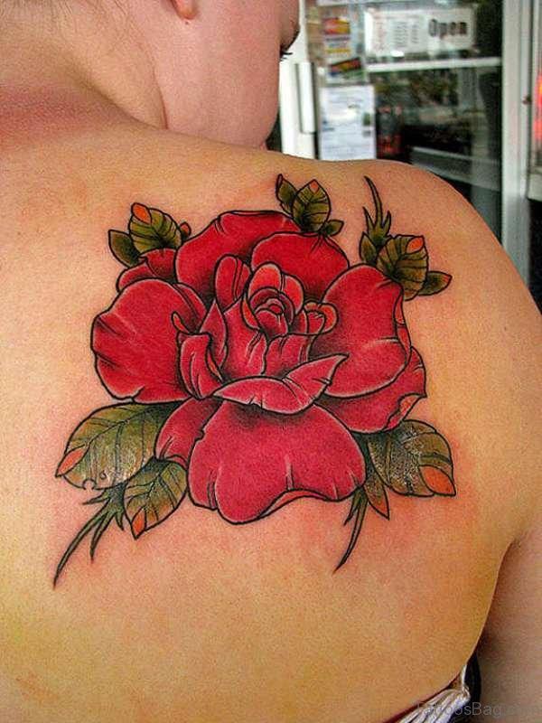 Red Rose Tattoo On Shoulder Back