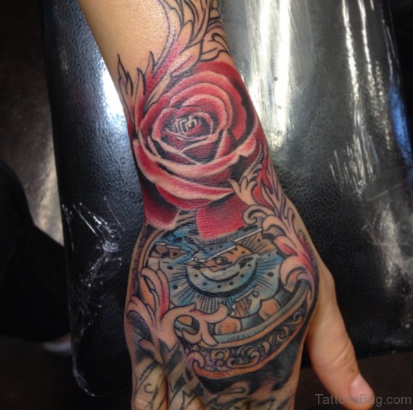 Red Rose Tattoo On Wrist
