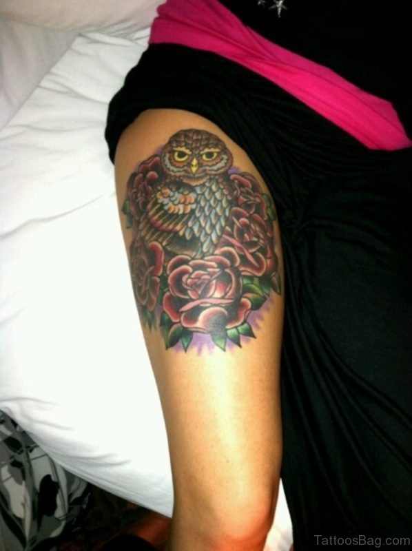 Red Roses And Owl Tattoo