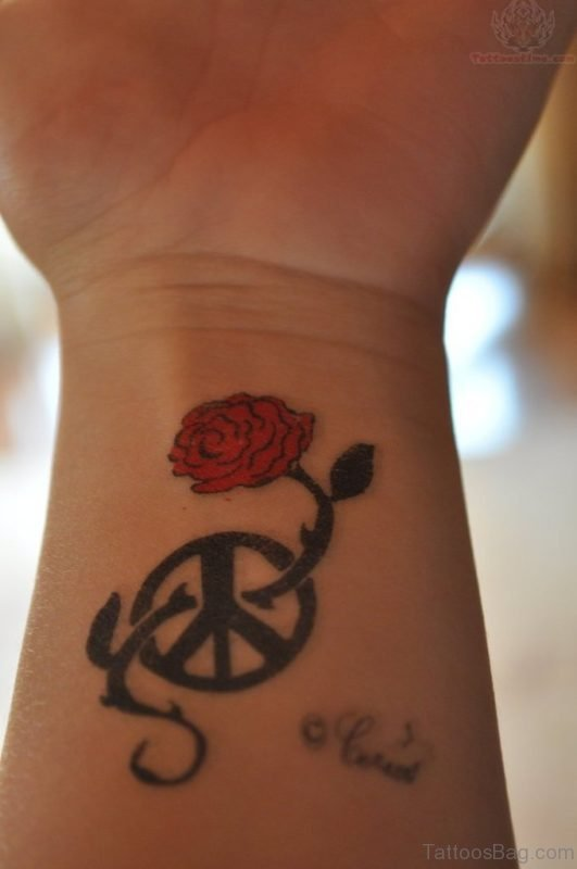 Red Rose And Peace Tattoo