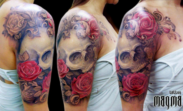 Red Roses And Skull Vintage Tattoo