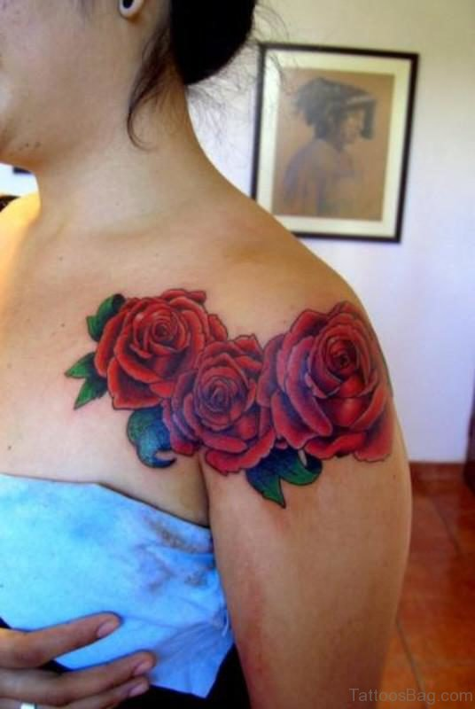 Red Roses Flower Tattoo