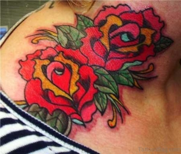 Red Roses Tattoo Design On neck