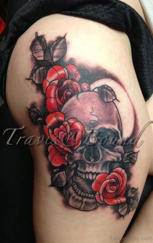 Red Roses With Skull Tattoo