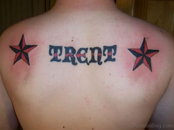 Red Star And Wording Tattoo