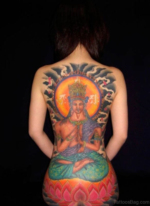 Religious And Lotus Flower Tattoo