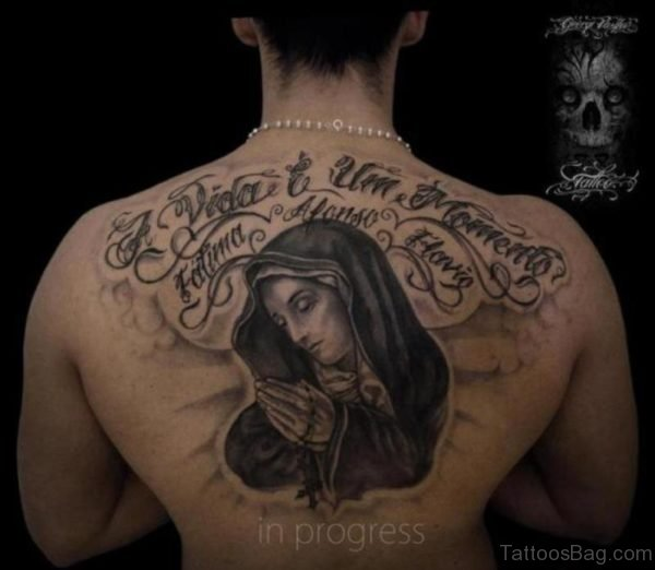 Religious And Praying Tattoo On Back