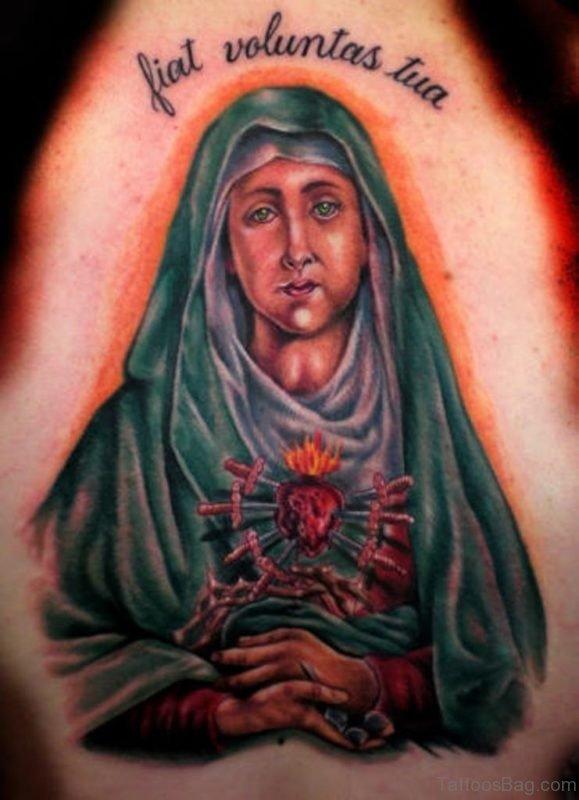 Religious Mary Shoulder Tattoo Design