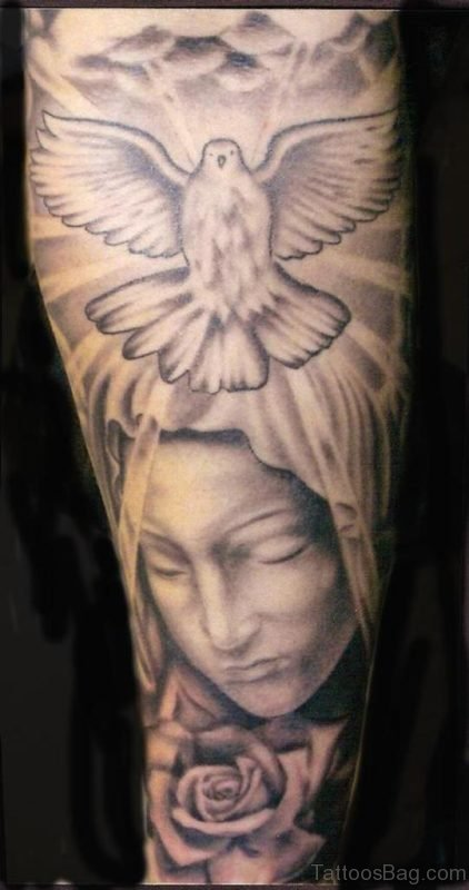 Religious Mary Shoulder Tattoo