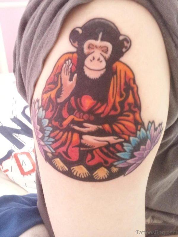 Religious Monkey Shoulder Tattoo