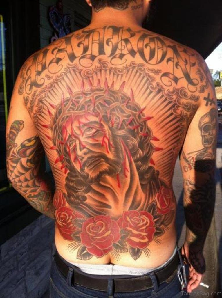 54 Graceful Religious Tattoos On Back