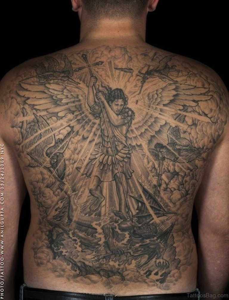 54 graceful religious tattoos on back for Tattoos on back