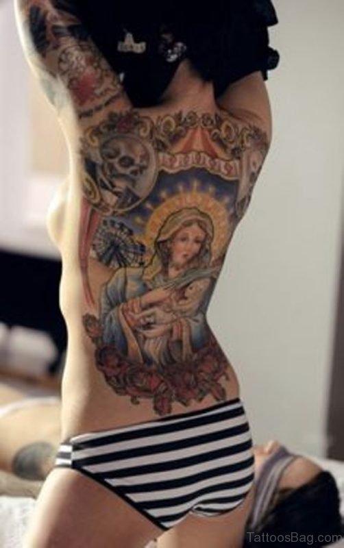 Religious Tattoo On Girl Back