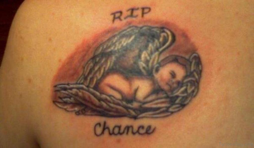 51 prettiest memorial angel tattoos on back. Black Bedroom Furniture Sets. Home Design Ideas