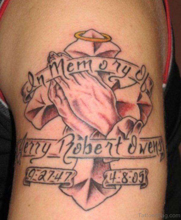 Rip Cross Design Tattoo On Shoulder