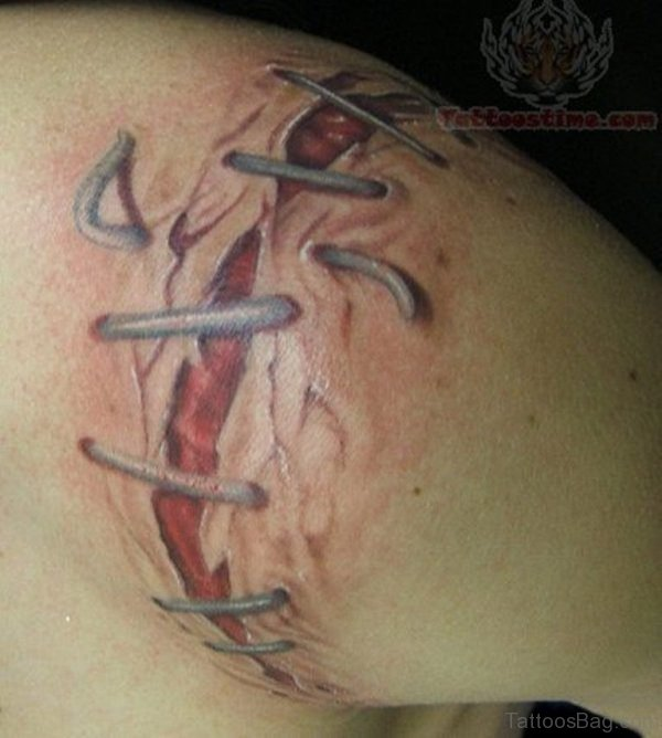 Ripped Skin Back Tattoo