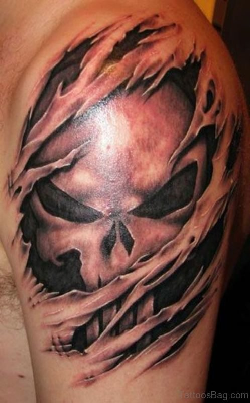 Ripped Skin Skull Tattoo