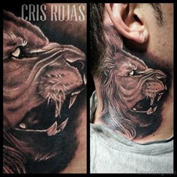 Roaring Lion Neck Tattoo