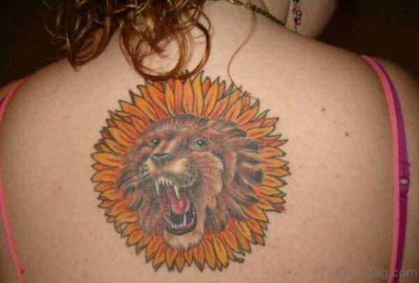 Roaring Lion Sunflower Tattoo For Upper Back