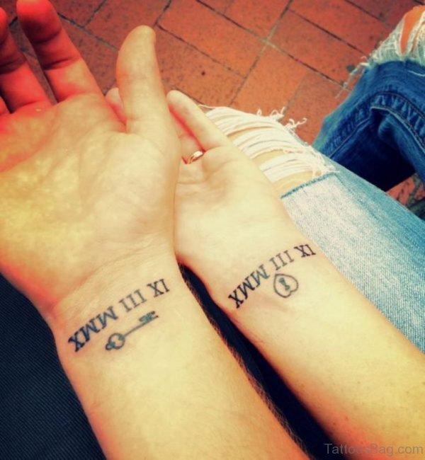Roman Number And Key Tattoo
