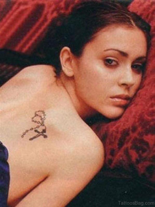 Rosary Cross Tattoo On Girl