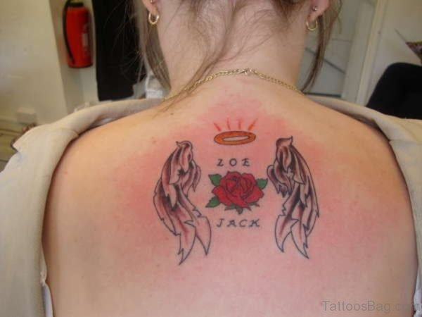 Rose And Angel Wings Tattoo