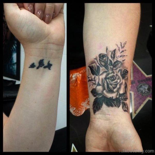 Rose And Bird Tattoo On Wrist
