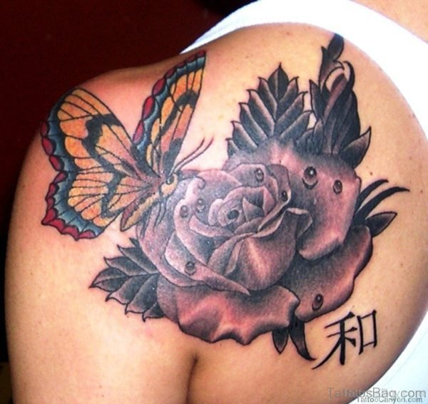 Rose And Butterfly Tattoo On Back