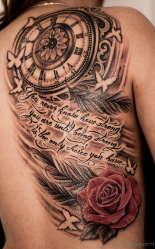 Rose And Compass Tattoo On Back