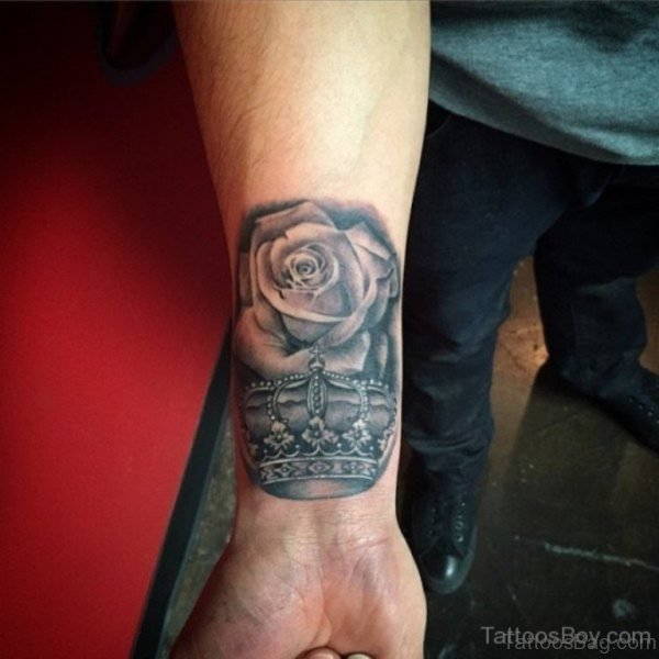 Rose And Crown Tattoo On Wrist