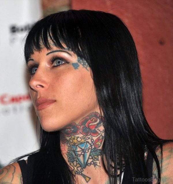 Rose And Diamond Tattoo On Neck