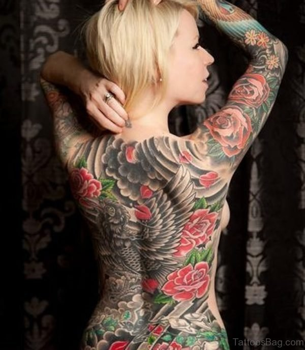 Rose And Eagle Tattoo On Full Back