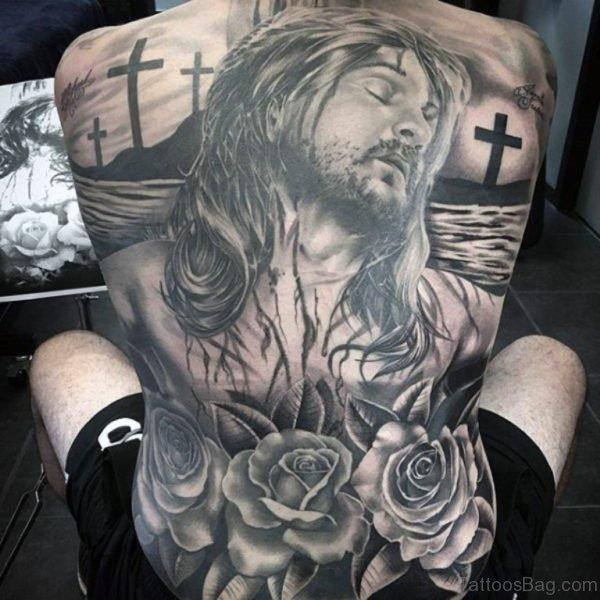 Rose And Jesus Tattoo