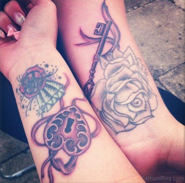 Rose And Key Tattoo