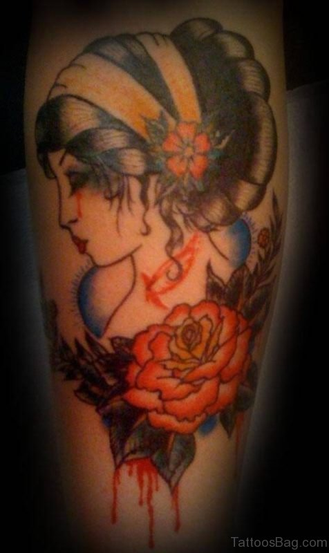Rose And Lady Vintage Tattoo