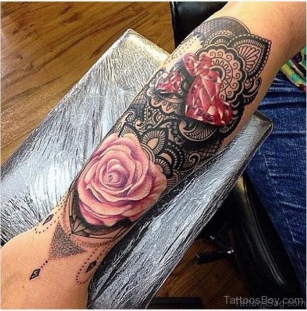 Rose And Mandala Tattoo On Wrist
