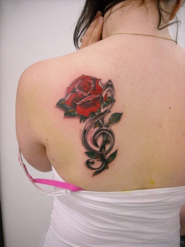 Rose And Music Notes Tattoo