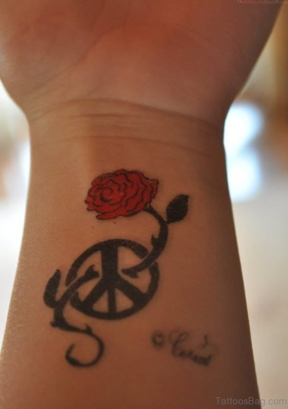 Rose And Peace Tattoo