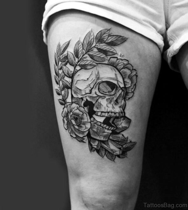Rose And Skull Tattoo For Guys