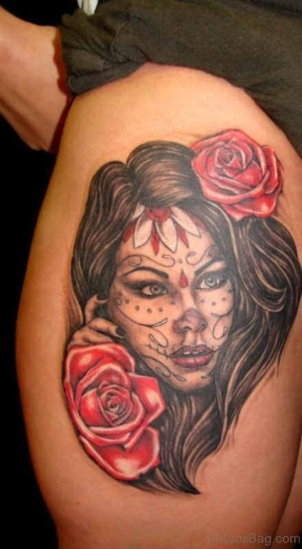 Rose And Skull Tattoo On Thigh