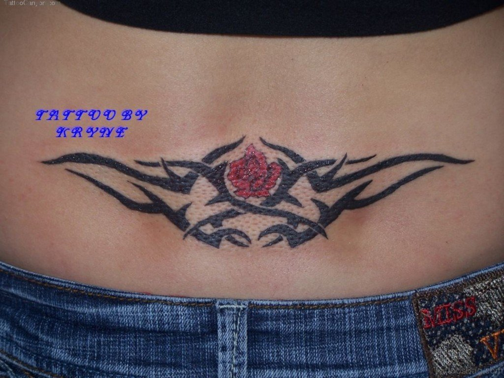 Tattoo designs on the back - Rose And Tribal Tattoo