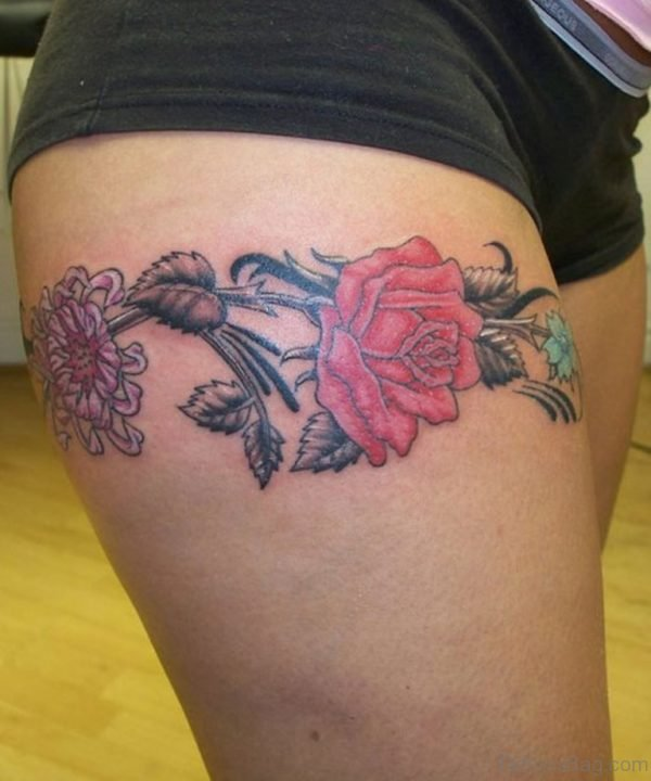 Rose Band Thigh Tattoo