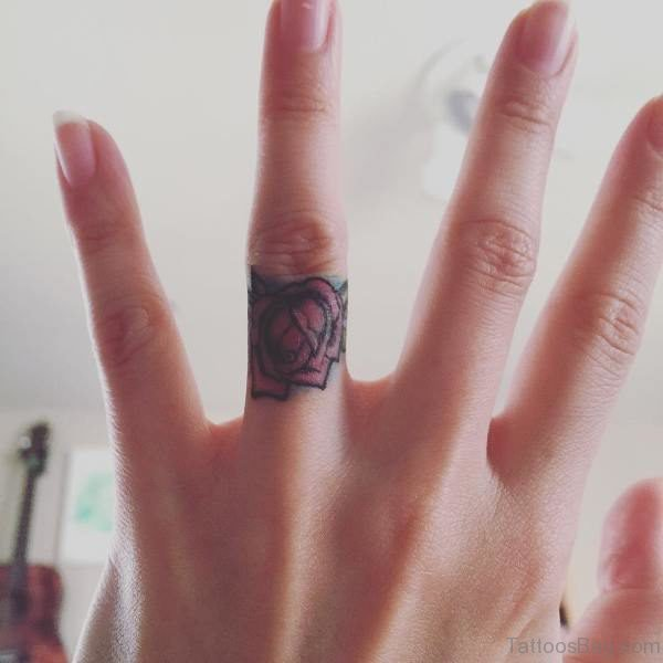 Rose Flower Finger Tattoo