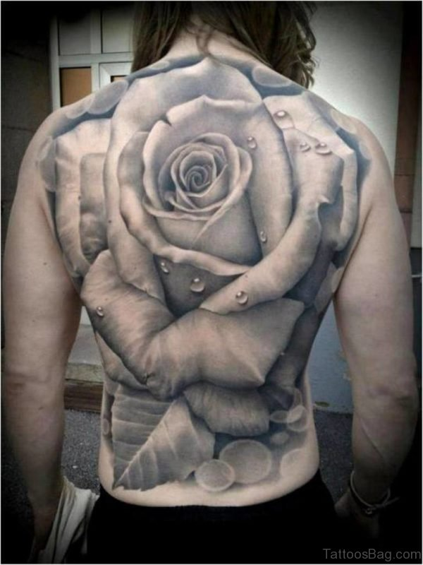 Rose Flower Tattoo On Full Back