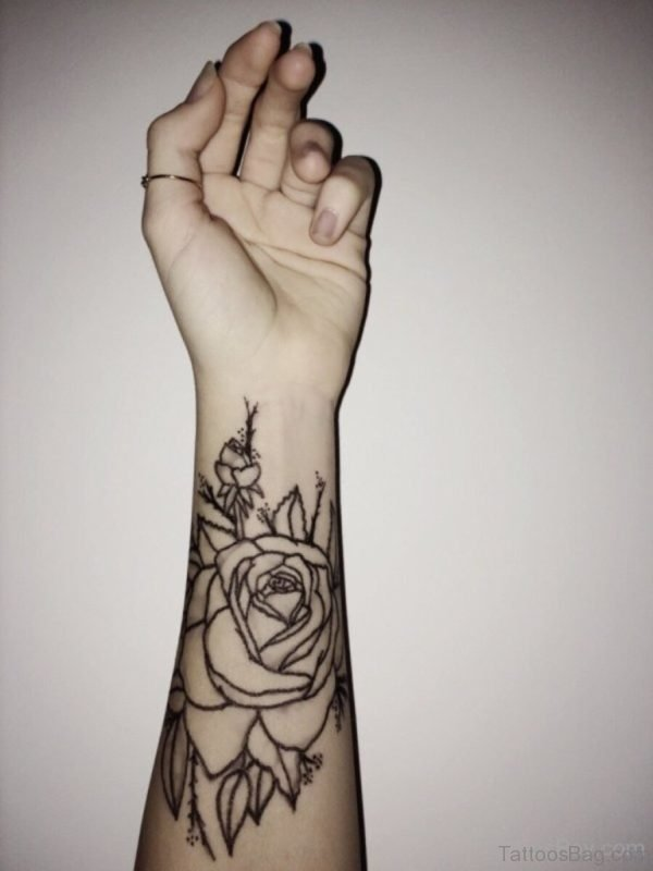 Rose Flower Tattoo On Wrist