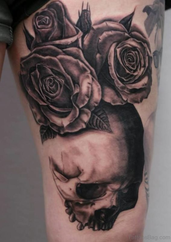 Rose Flowers And Skull Tattoo